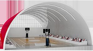 спортивная площадка в бескаркасном ангаре